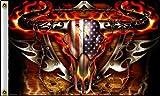 Cheap Flaming Bull Skull USA Flag