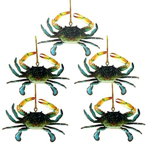 Chesapeake Bay Maryland Blue Crab Christmas Ornament Set of 5 -