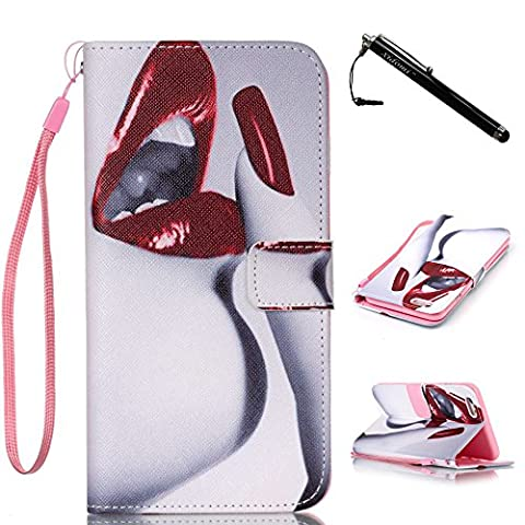 iPhone 6s Plus Case,iPhone 6 Plus Case,Sexy Red Lip Pattern PU Leather Flip Wallet Protective Soft Skin Case Magnetic Clasp for Apple iPhone 6 Plus iPhone 6s Plus(Built-in Credit Card/ID Card - Lip Cell Phone Case