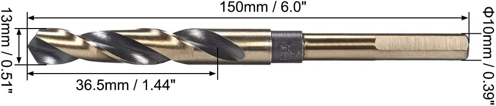 sourcing map Reduced Shank Twist Drill Bits 18.5mm High Speed Steel 4341 with 10mm Shank 1 Pcs