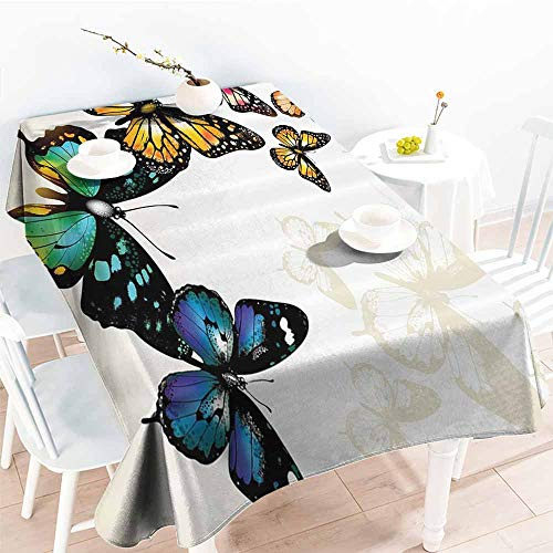 - Homrkey Stain-Resistant Tablecloth Butterfly Decor Monarch Butterflies Shades and Shadows Ombre Background Blue Pink Green and Yellow Soft and Smooth Surface W50 xL80