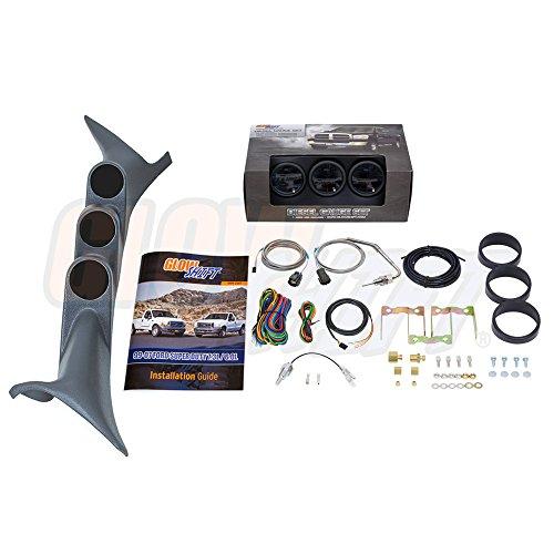 (GlowShift Diesel Gauge Package for 1999-2007 Ford Super Duty F-250 F-350 6.0L 7.3L Power Stroke - Tinted 7 Color 60 PSI Boost, 1500 F Pyrometer EGT & Transmission Temp Gauges)