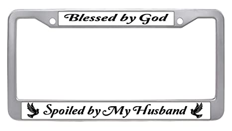 Exterior Accessories Blessed by God Spoiled by My Husband License Plate Frame Tag Holder with Security Screws Waterproof Stainless Steel Vehicle License Plate Frame Colorful Bling Rhinestone License Plate Chrome Frame
