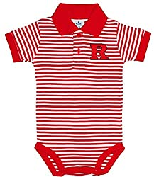 Rutgers Scarlet Knights NCAA College Newborn Infant Baby Striped Polo Creeper 3-6 Months  3-6 Months Red