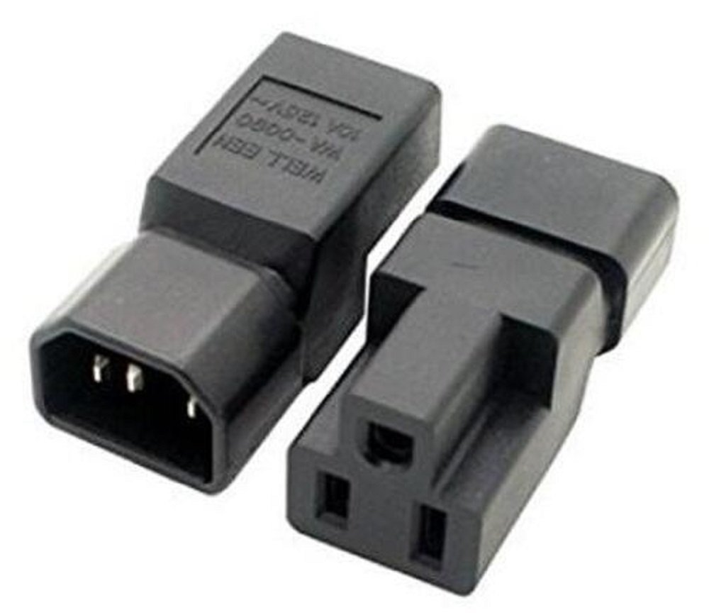 (2 Pack) IEC320 C14 Male to Nema 5-15R PDU USA UPS Extension Power Plug Adapter,IEC C14 male plug To Nema 5-15R US 3 Pin Female power adapter Connector