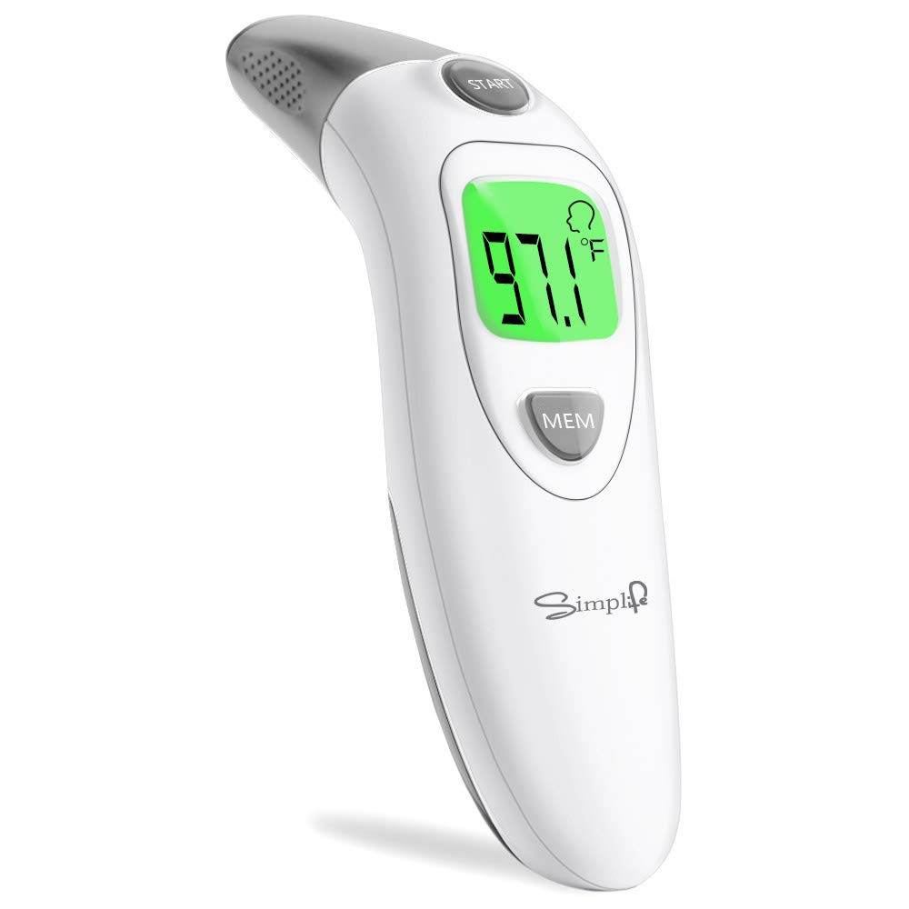 Simplife Baby Forehead and Ear Thermometer for Fever, Infrared Medical Temporal Basal Body Thermometer with Instant Accurate Readings, Suitable for Kids, Toddlers, Infants, Adults