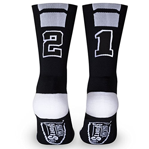 Team Number 21 Half Cushioned Crew Socks - Black, One Size