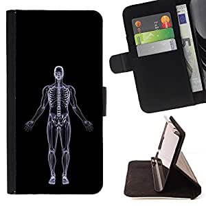DEVIL CASE - FOR Sony Xperia Z2 D6502 - Human X-Ray Skull Skeleton - Style PU Leather Case Wallet Flip Stand Flap Closure Cover