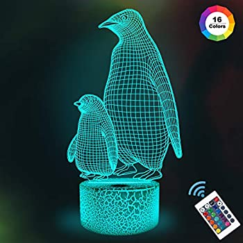 Penguin 3D Night Light for Kids, 16 Colors Changing Illusion Lamp with Remote Control Dim Function 4 Flashing Mode, Kids Bedroom Decor Gifts for Boys Girls