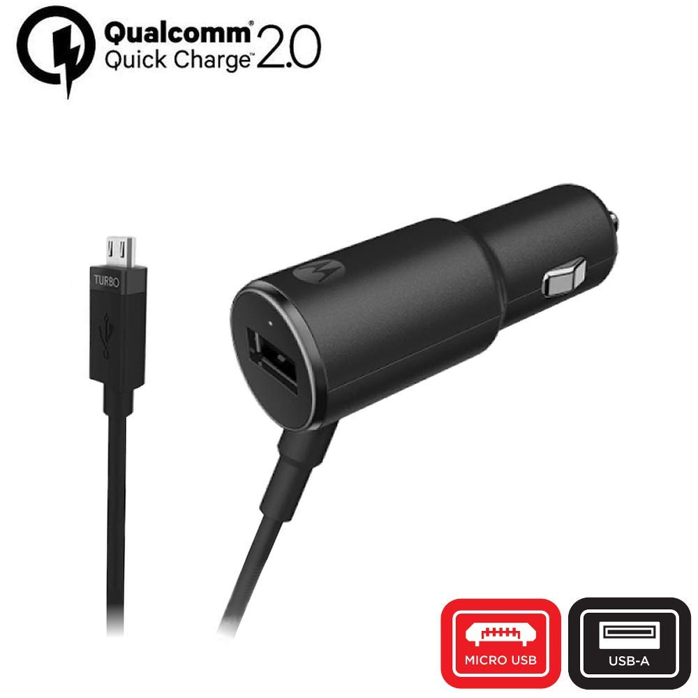 Amazon.com: Motorola TurboPower 25 QC2.0 Micro-USB car Charger with Extra USB-A Port for Moto G3/G4/G5/G5S Micro USB Devices (Retail Box): Cell Phones & ...