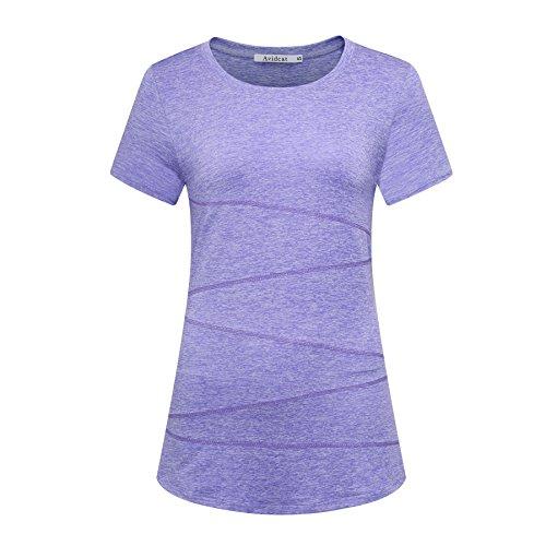 Avidcat Women's Short Sleeves Yoga Tops Performance Activewear Running Workout Moisture-Wicking T-Shirts (X-Large, Light Purple)