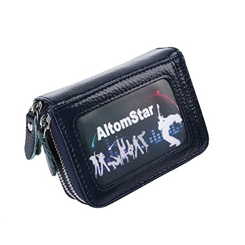 Kreditkartenetui Damen Bunt Echt Leder, Geldbörse Damen Reißverschluss Zip Around Mini Handtasche mit Münzen Tasche RFID Blocking (Orange) Saphir Blau