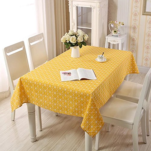Lemon hour Table Covers, Rectangle Dining Room Modern Tablecloth with Cotton Linen Lace, Yellow Plaid Style Dust-proof Table Cover for Kitchen Living Party Decorative, 140 x 180 Cm/55 x 71 Inch