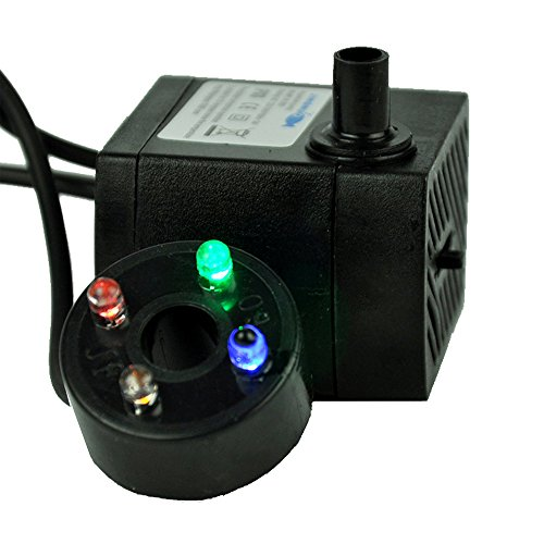 Water Pump, MerryNine 80 GPH (300L/H) Water Pump with Colorful LED Light for Fish Tank, Aquarium, Fountains, Hydroponics, (Pool Table Aquarium)