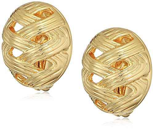 Napier Gold Tone Button Clip On Earrings - Gold Tone Button Earrings