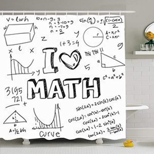 ArtsDecor Shower Curtains 66 x 72 Inches Graphic Math Formulas Drawn Doodle Style White Algebra Love Triangle Waterproof Fabric Bathroom Home Decor Set Hooks
