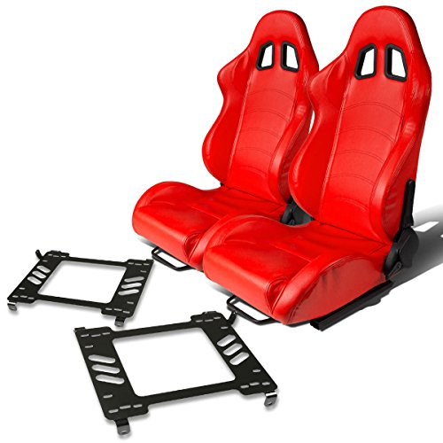 Gt Racing Seat (Pair of RST1PVCRD Racing Seats+Mounting Bracket for Ford Mustang 5th Gen)