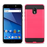 BLU Life One X3 case + Screen Protector, (L0150WW) 5.5 inch case Tough Hybrid + Dual Layer Shockproof Drop Protection Metallic Brushed Case Cover for BLU Life One X3 case (VGC Pink + SP)