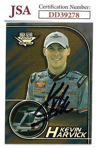 (Kevin Harvick signed NASCAR 2002 Wheels High Gear Racing Trading Card #F9- Hologram #DD39278 - JSA Certified)