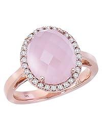 14k Rose Gold Oval Rose Quartz Cab and Diamond Ring