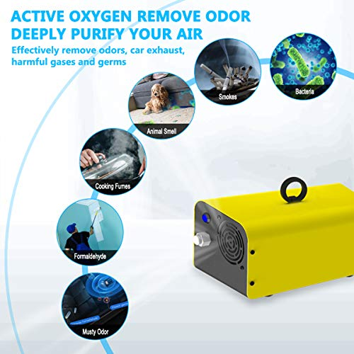 10,000mg Ozone Generator Air Purifier, Elementa Wireless Remote Control Ozone Cleaner, Portable Smart Air Purifier Ionizer O3 Machine for RV Basement Classroom Odor Remover (YELLOW)