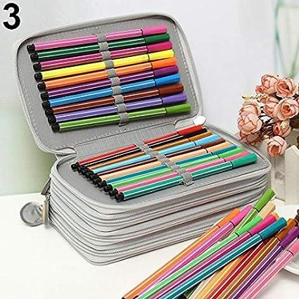 Estuche portátil con 4 capas y 72 agujeros para dibujo, dibujo, dibujo, dibujo, dibujo, boceto, bolígrafo, con cremallera, color gris: Amazon.es: Oficina y papelería
