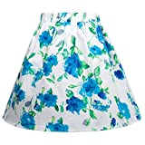 GRACE KARIN Girls Elastic Waist Pleated Floral Cotton A-Line Skirts Dresses