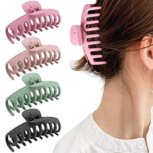 Gifeel Big Hair Claw Clips, 4.33 Inch Non Slip Large Claw Hair Clips for Women and Girls Thin Hair, Strong Hold Banana Matte Jaw Hair Claw Clips for Thick Hair, Fashion Hair Styling Accessories 4 Color Available(4 Packs)