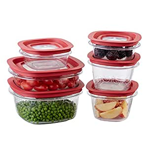 Rubbermaid Premier food storage container with Tritan plastic and Easy Fine Lids, Set of 12, Red, FG7J11TRCHILI