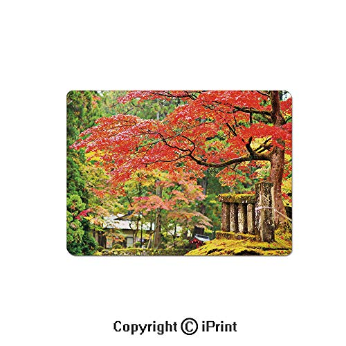 Large Gaming Mouse Pad Autumn Scenery with Sakura Tree Cherry Blooms in Nikko Provinence Japan Decorative Extended Mat Desk Pad Mousepad Non-Slip Rubber Mice Pads 9.8