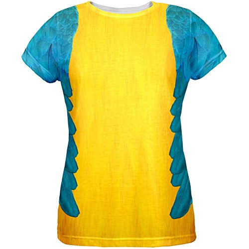 [Halloween Blue & Yellow Parrot Macaw Costume All Over Womens T-Shirt - X-Large] (Parrot Costume Female)