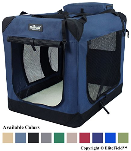 "EliteField 3-Door Folding Soft Dog Crate, Indoor & Outdoor Pet Home, Multiple Sizes and Colors Available (20""L x 14""W x 14""H, Navy Blue)"
