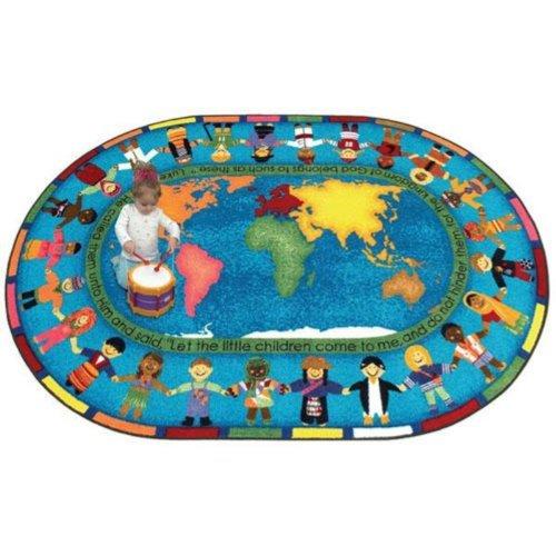 Joy Carpets Kid Essentials Inspirational Let The Children Come Area Rug, Multicolored, 5'4'' x 7'8''