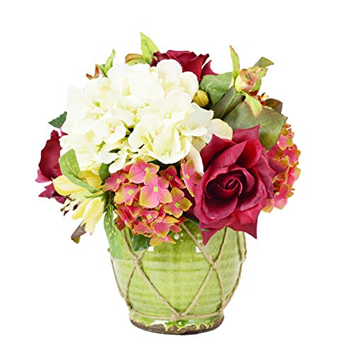 Creative Displays Cream Hydrangea and Burgundy Roses, Budding Roses and Magnolia Leaves in Green Ceramic Vase Burgundy Magnolia