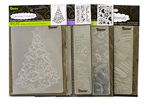 Darice Embossing Folders for Card Making Gift Bundle - 4 Items: Valentines Day, Easter, Halloween, Christmas by Unknown