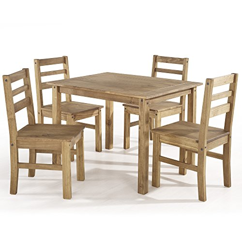 entury Modern Solid Pine Wood Dining Set 4 Chairs and Table - Includes Pen (Brown) ()
