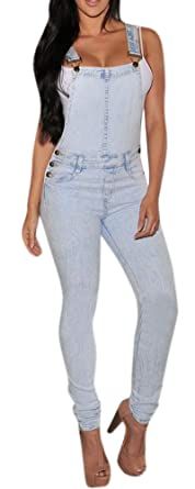 1575ee48575 Amazon.com  Women s Casual Blue Butt Lifting Suspenders Skinny Jeans ...