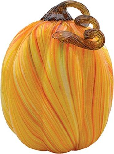 Handmade Glass Pumpkin - Orange Straw - 9