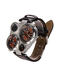 Chinatera Brown Men OULM Military Watches Dual Time Zones Thermometer Compass Leather Band