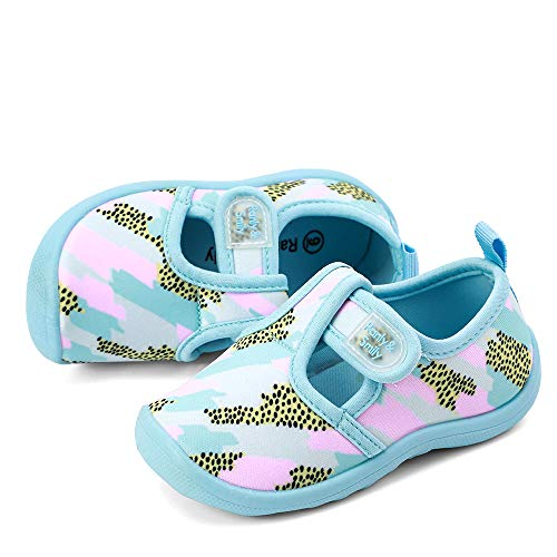 Sky Camo - RANLY & SMILY Baby Girls Cute Aqua Water Shoes Walking Sneakers Sandals for Beach/Swim/Pool Swim Aqua Sky/Camo/Pink US 12 Little Kid