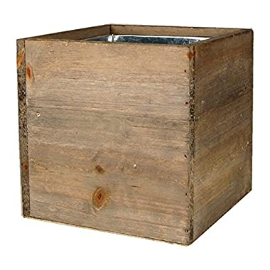 CYS® Wood Cube Box Wood Planters with Removable Zinc Liner, 6 inches (Pack of 1)