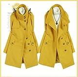 Korea Style Fashion Design Lapel Warm Coat Yellow Ladies Outerwear Hot New
