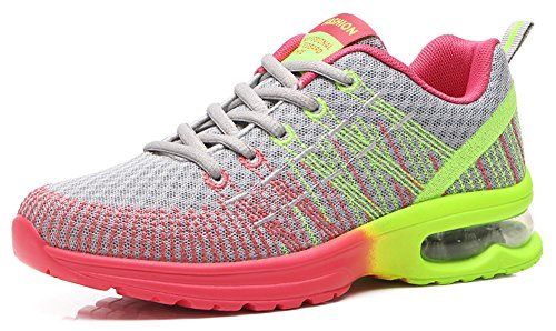 Ausom Womens Fitness Air Cushion Workout Trail Running Shoes Fashion Sport Gym Jogging Walking Sneakers Grey dvQm1