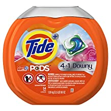 Tide PODS Plus Downy 4 in 1 HE Turbo Laundry Detergent Pacs, April Fresh Scent, 54 Count Tub