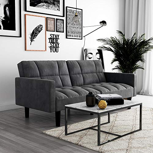 DHP Hayden Convertible Sofa Sleeper Futon with Arms - Grey Microfiber -