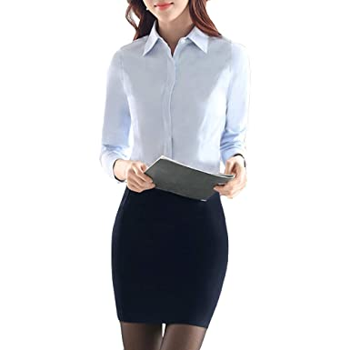 347af91b39f118 Image Unavailable. Image not available for. Color: LINGMIN Women's Cotton  Basic Solid Shirts Fitted Long Sleeve Button-Down Blouses
