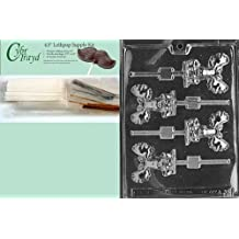 Cybrtrayd 45StK50-A038 Moose Lolly Animal Chocolate Candy Mold with Lollipop Supply Kit