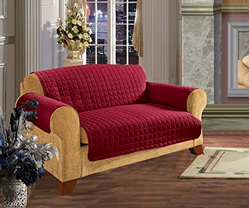 Elegance Linen Quilted Slip Cover Water-Absorbent Furniture Protector for Love Seat, Red