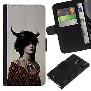 Protector de cuero de la PU de la cubierta del estilo de la carpeta del tirón BY RAYDREAMMM - Samsung Galaxy S4 Mini i9190 - Dragón de cuernos Chica