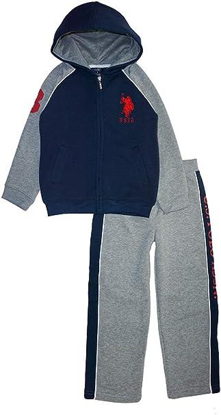 U.S. Polo Assn. Little Boys' Zip-Up Fleece Hoodie and Pant